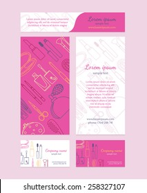 Beauty salon - brochure, business card, banners. Template design in pink colors.