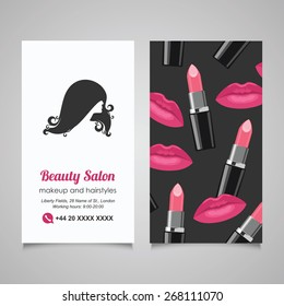 Beauty Salon business card design template with beautiful woman's profile