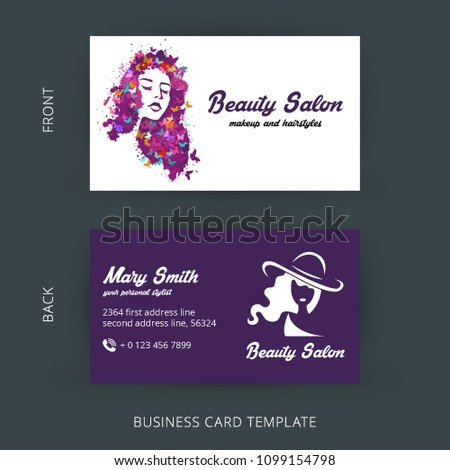 Beauty salon business card design cosmetic stock vector royalty beauty salon business card design cosmetic products vector illustration with pencil eye shadow accmission Choice Image