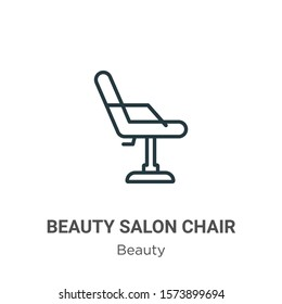 Beauty salon chair outline vector icon. Thin line black beauty salon chair icon, flat vector simple element illustration from editable beauty concept isolated on white background