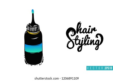 Beauty salon coloring tube and inscription: hair styling. Promo card with hair dressing tool for beauty store, shop or fashion blog.