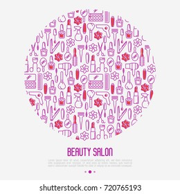 Beauty salon concept with thin line icons of cosmetics, make up and beauty accessories. Vector illustration for banner, web page, print media.