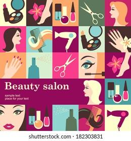 Beauty salon design template card. Vector background