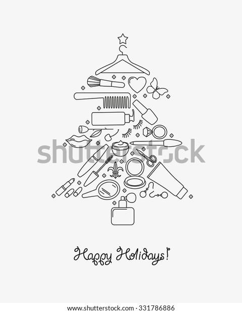 Christmas Beauty Salon.Beauty Salon Holiday Congratulation Card Christmas Stock