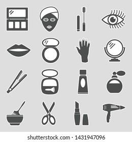 Beauty Salon Icons. Sticker Design. Vector Illustration.