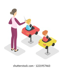 Beauty salon interior with children getting a haircut. Hairdresser working with young boy and comb his hair. Isolated vector isometric illustration