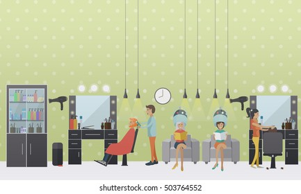 Beauty salon interior vector concept banners. Hair style design studio. Women in haircut atelier. Illustration in flat cartoon style.