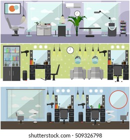 Beauty salon interior vector concept banners. Haircut, manicure and make up atelier.