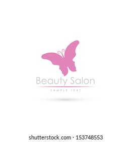 Beauty salon label with butterfly and faces - vector illustration