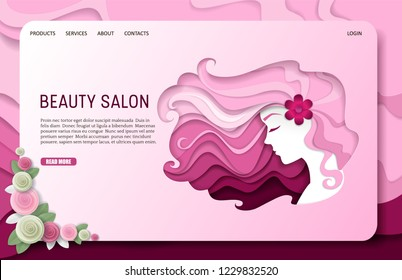 Beauty salon landing page website template. Vector paper cut beautiful girl with long wavy hair. Beauty and fashion, body care and hairstyles concept.