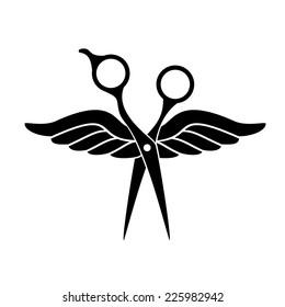 Beauty salon logo with black scissors