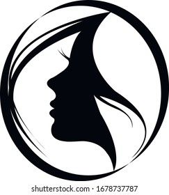 Beauty Salon Logo Girl Face Silhouette PNG Vector Illustration