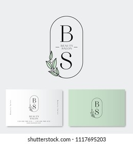 Beauty salon Logo and identity. B and S monograms. Emblem of female clothing or lingerie. Elegant round icon with leaves and letters. Flower or lingerie shop.