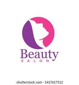 Beauty salon logo template with woman face element