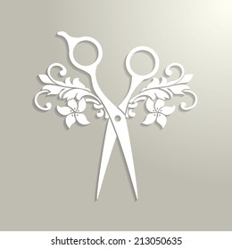 Beauty salon logo. Vector paper scissors with shadow.