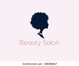 Beauty Salon Logo with a woman's profile in vector format.
