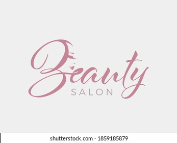 Beauty salon logo.Elegant makeup woman face and wordmark isolated on light fund.Profile view lady portrait.Pink lipstick and long eyelashes.Cosmetics and spa business.Calligraphy style lettering.