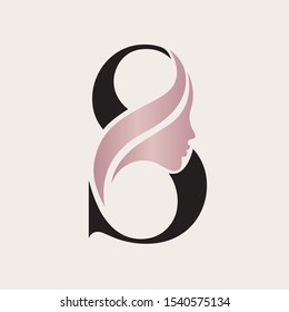 Beauty salon logo.Letter S and beautiful woman portrait.Lettering icon and rose gold metallic face silhouette.Alphabet initial sign for hair, spa and aesthetics business.Modern,elegant,luxury style.