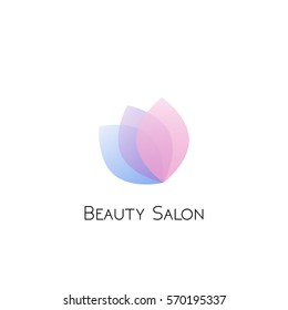 Beauty salon logotype with transparent blue, violet and pink flower petals