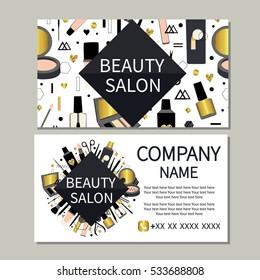Beauty salon. Beauty, makeup, care. Cute design of business cards for beauty salon. Vector design.
