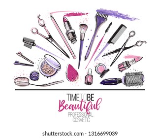 Beauty salon, manicure, makeup, hairdressing poster, flyer, template design. Fashion woman accessory illustration icon logo set isolated vector on white background