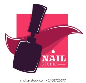 Beauty salon, nail studio and hand care isolated icon vector. Nail polish or varnish bottle, color splash, manicure and pedicure, skincare. Fingernails and toenails, spa procedures emblem or logo