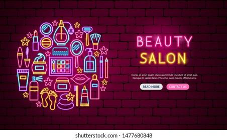 Beauty Salon Neon Banner Design. Vector Illustration of Cosmetics Promotion.