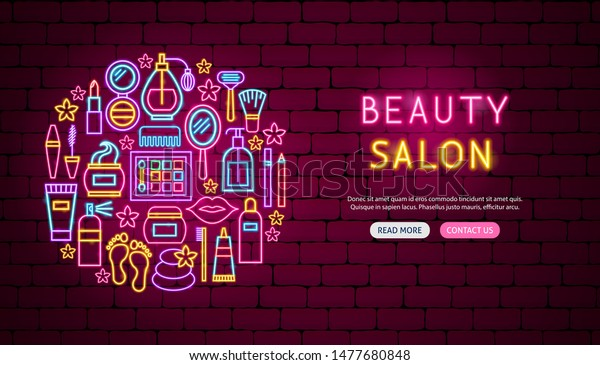 Beauty Salon Neon Banner Design Vector Stock Vector Royalty Free 1477680848