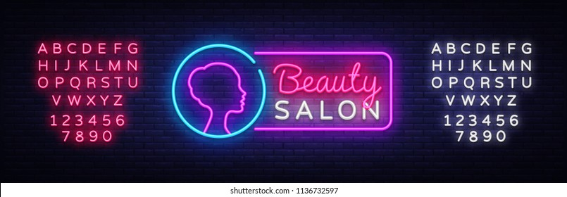 Beauty Salon neon sign vector. Beauty Salon Design template neon sign, light banner, neon signboard, nightly bright advertising, light inscription. Vector illustration. Editing text neon sign