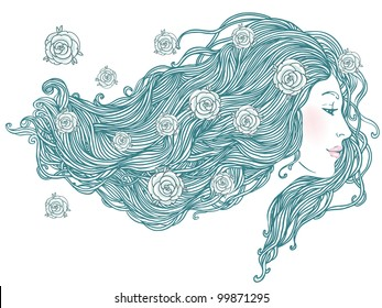 Beauty Salon: Portrait of pretty young woman in profile view with long beautiful hair with flowers. Vector illustration