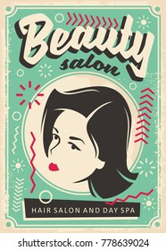 Beauty salon retro poster design with pretty young girl portrait. Comic style old fashioned banner design with Memphis style design elements.