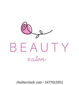 Beauty Salon, Rose icon, Vector Logo template design