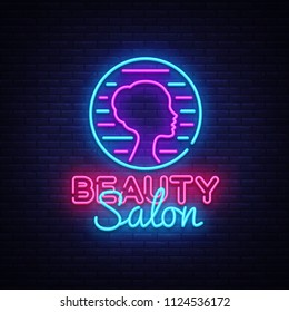 Beauty Salon sign vector design template. Beauty Salon neon logo, light banner design element colorful modern design trend, night bright advertising, bright sign. Vector illustration