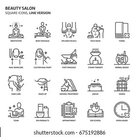 Beauty salon, square icon set. The illustrations are a vector, editable stroke, thirty-two by thirty-two matrix grid, pixel perfect files. Crafted with precision and eye for quality.