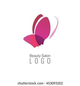 Beauty salon vector logo or icon template. Butterfly logo