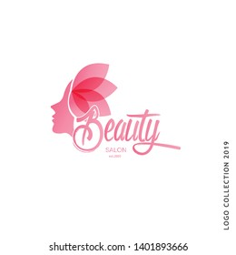 Beauty Salon woman face silhouette , leaf hair , calligraphic logo teplate