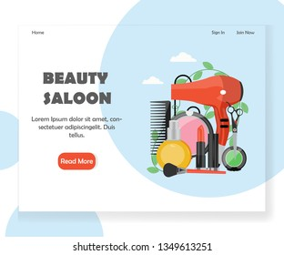 Beauty saloon vector website template, web page and landing page design for website and mobile site development. Beauty salon services concept for web banner, website page etc.