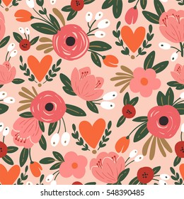 Beauty seamless floral pattern with roses, leaves and heart. Romantic background for wedding or Valentine day