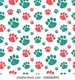 Beauty seamless pattern with colorful hand drawn doodle paw prints. Used for wallpaper, pattern fills, web page background,surface textures.
