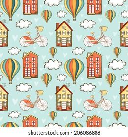 Beauty Seamless Pattern With Cute Houses Bicycle Clouds And Balloons Used For