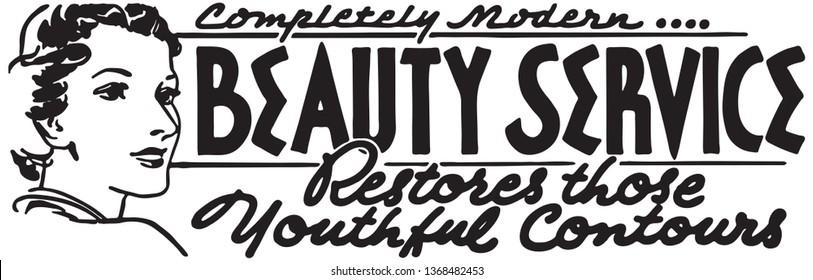 Beauty Service - Retro Ad Art Banner