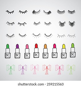 beauty set for woman vector hand drawn cartoon