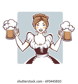 beauty and sexy vector  German girl holding a draft beer portrait, logo or emblem for your Oktoberfest menu
