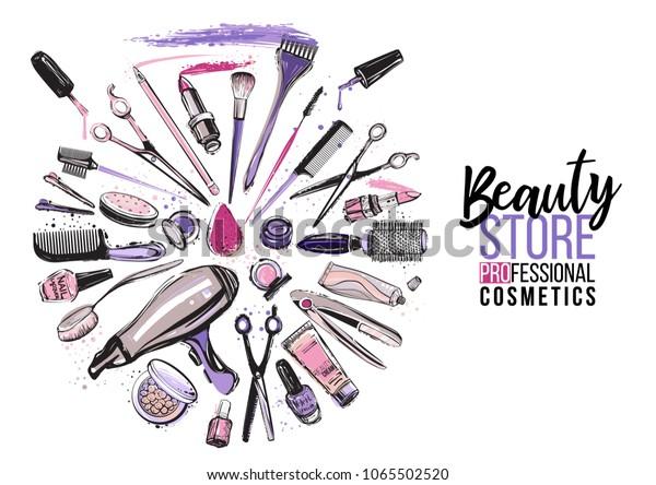 Beauty Shop Banner Beauty Salon Manicure Stock Vector Royalty Free 1065502520