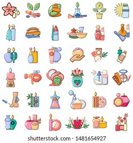 Beauty shop icons set. Cartoon set of 36 beauty shop vector icons for web isolated on white background