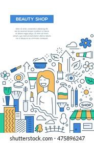 Beauty shop - vector line design brochure poster, flyer presentation template, A4 size layout.