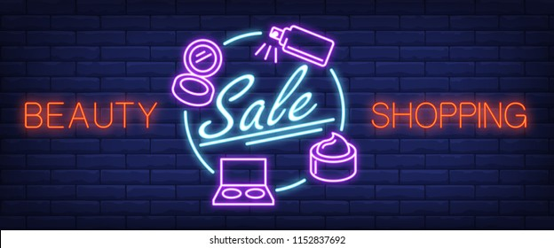 Beauty shopping, sale neon text and cosmetic accessories. Makeup, skincare and offer concept. Advertisement design. Night bright neon sign, colorful billboard. Vector illustration in neon style.