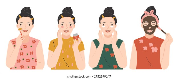 Beauty skin care routine. Beauty procedures skin care concept. Cleansing, moisturizing, face massage with roller. Young woman applying facial gray mud clay mask to her face. Hand drawn vector set.