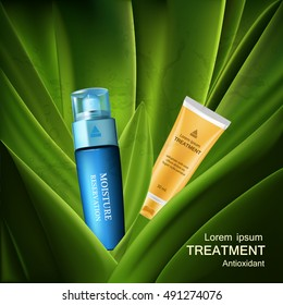 Beauty skin care set . moisture cream reservation, treatment cream with gold and blue packages in the green leaf