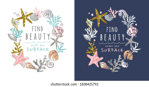 beauty slogan in seashells and glitters frame illustration